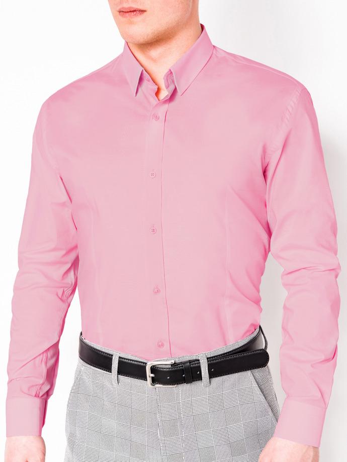 Koszula męska elegancka z długim rękawem 219K różowa  4bel4