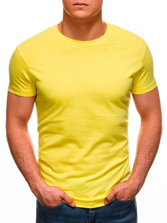 f10991d50c6a56 T-shirt męski bez nadruku 970S - żółty