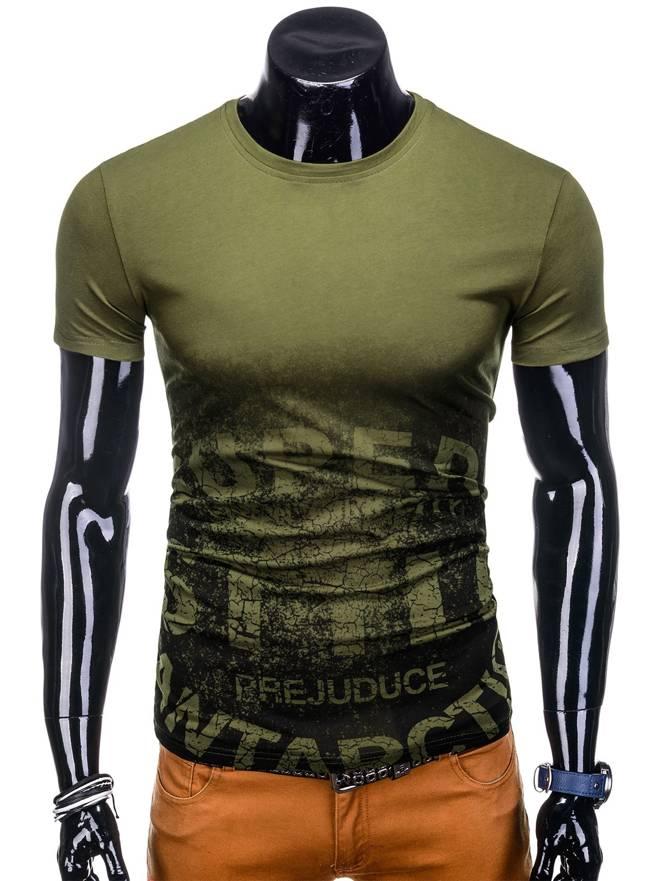 d73c54220d T-shirt męski z nadrukiem 1128S - khaki