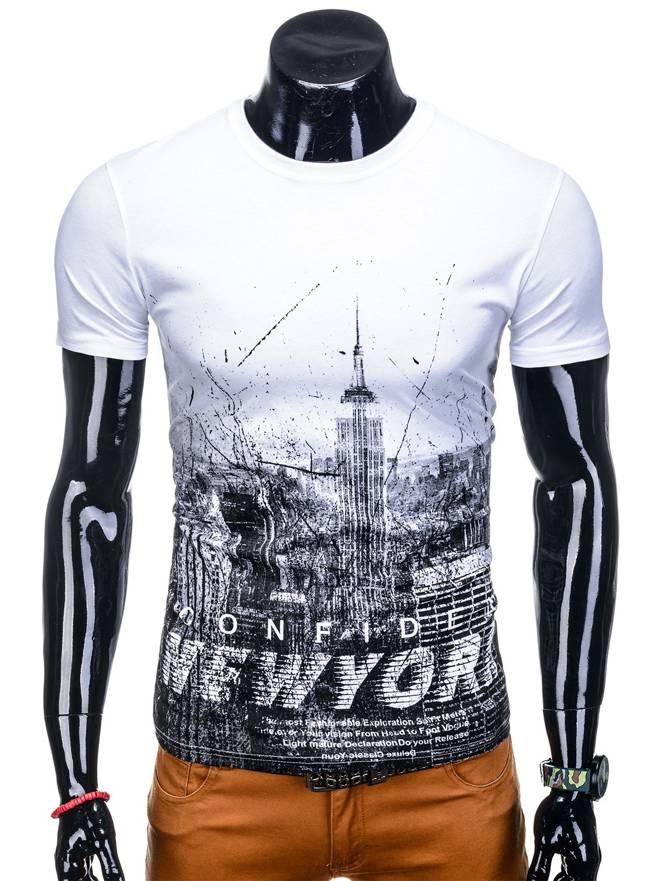 7a2008091a T-shirt męski z nadrukiem 1129S - biały