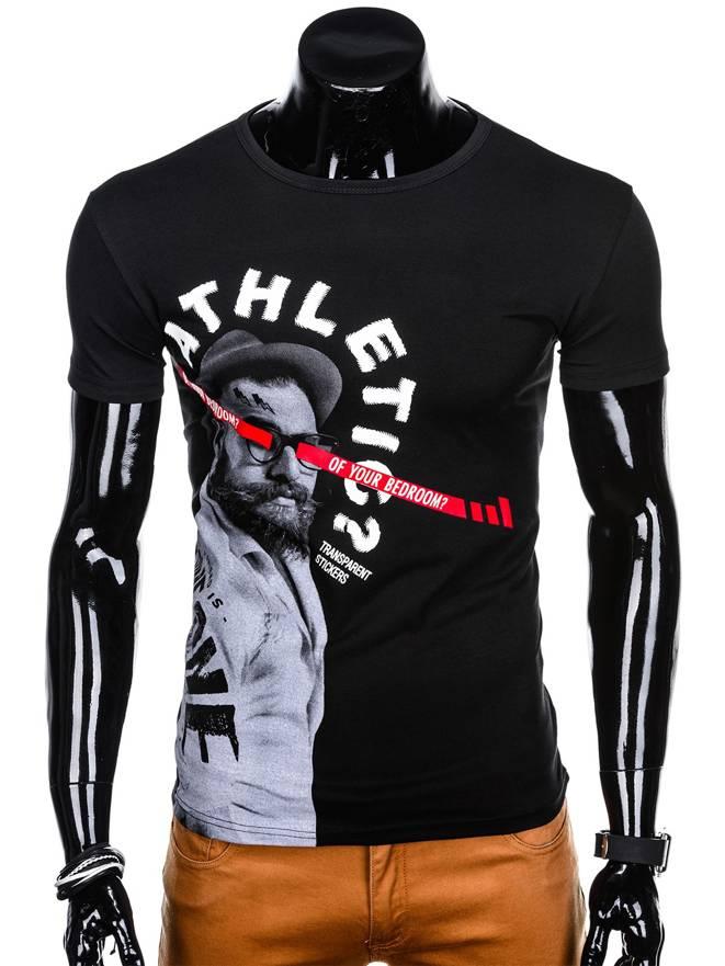 63c551ef0d T-shirt męski z nadrukiem S1133 - czarny