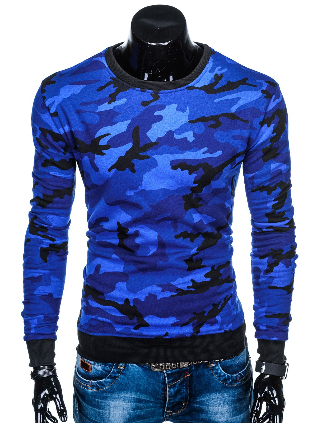 a5536c4ef8 Bluza męska bez kaptura 885B - niebieska moro niebieski