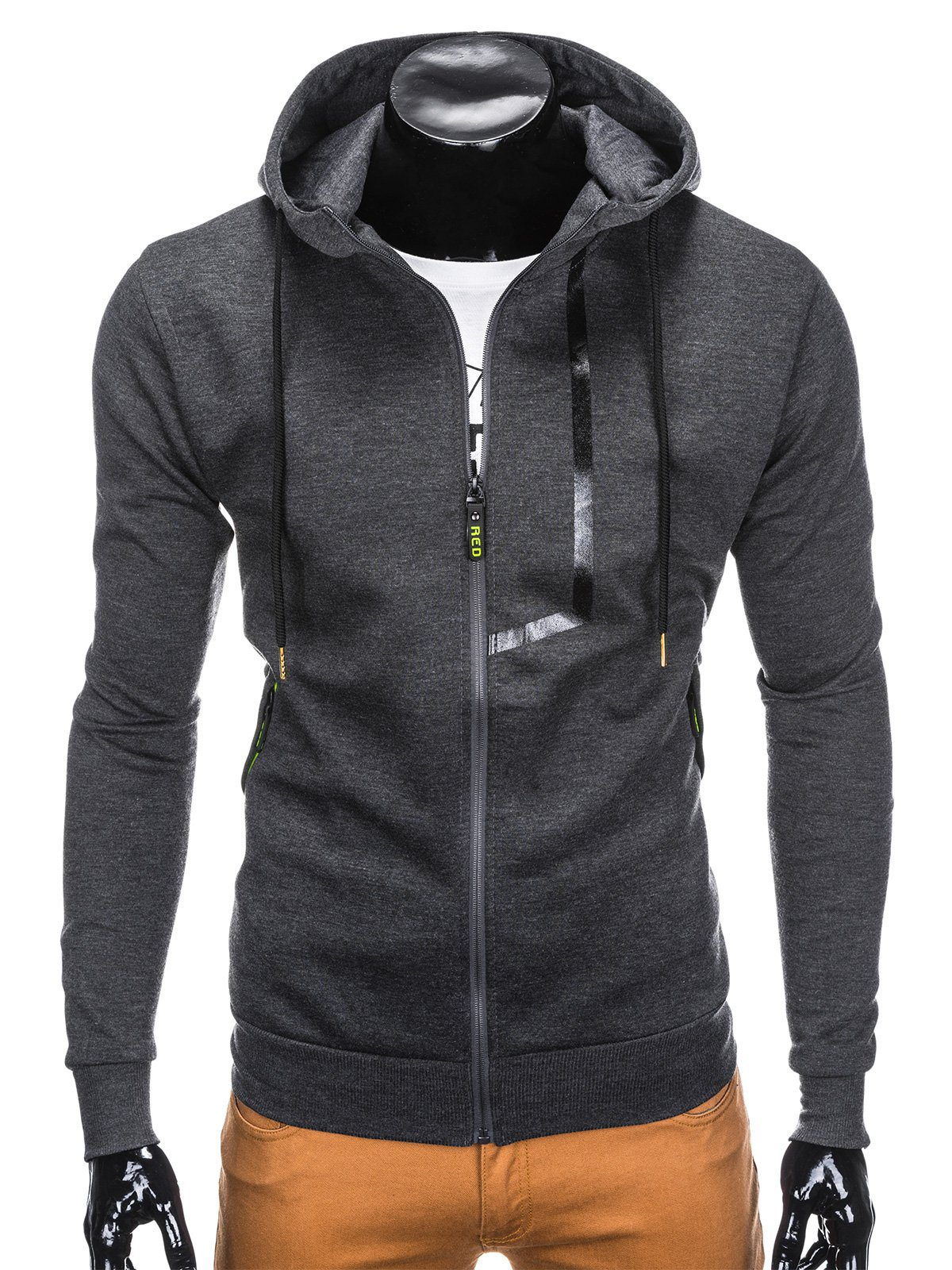 3ea4f55efb523a Bluza męska rozpinana z kapturem 792B - grafitowa grafitowy | Odzież \ Bluzy  \ Wszystkie Odzież \ Bluzy \ Z kapturem - Edoti.com