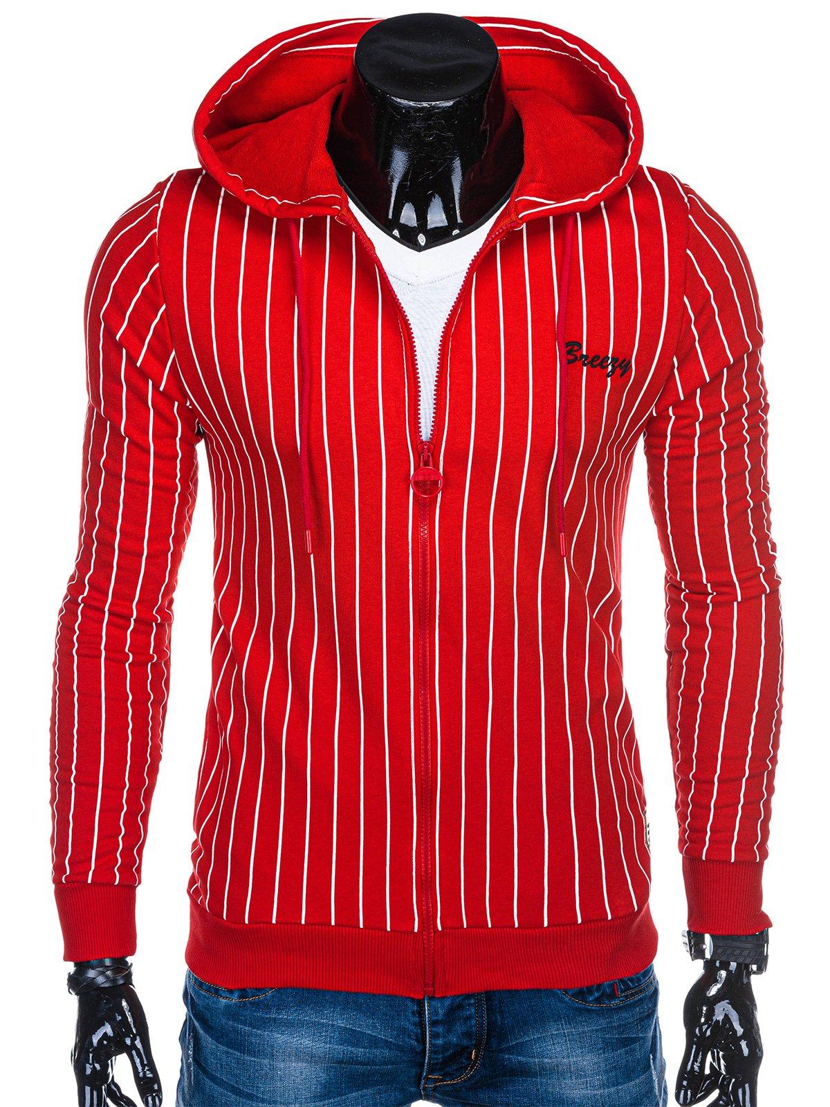czerwona bluza z zamkiem z kapturem bez rękawków