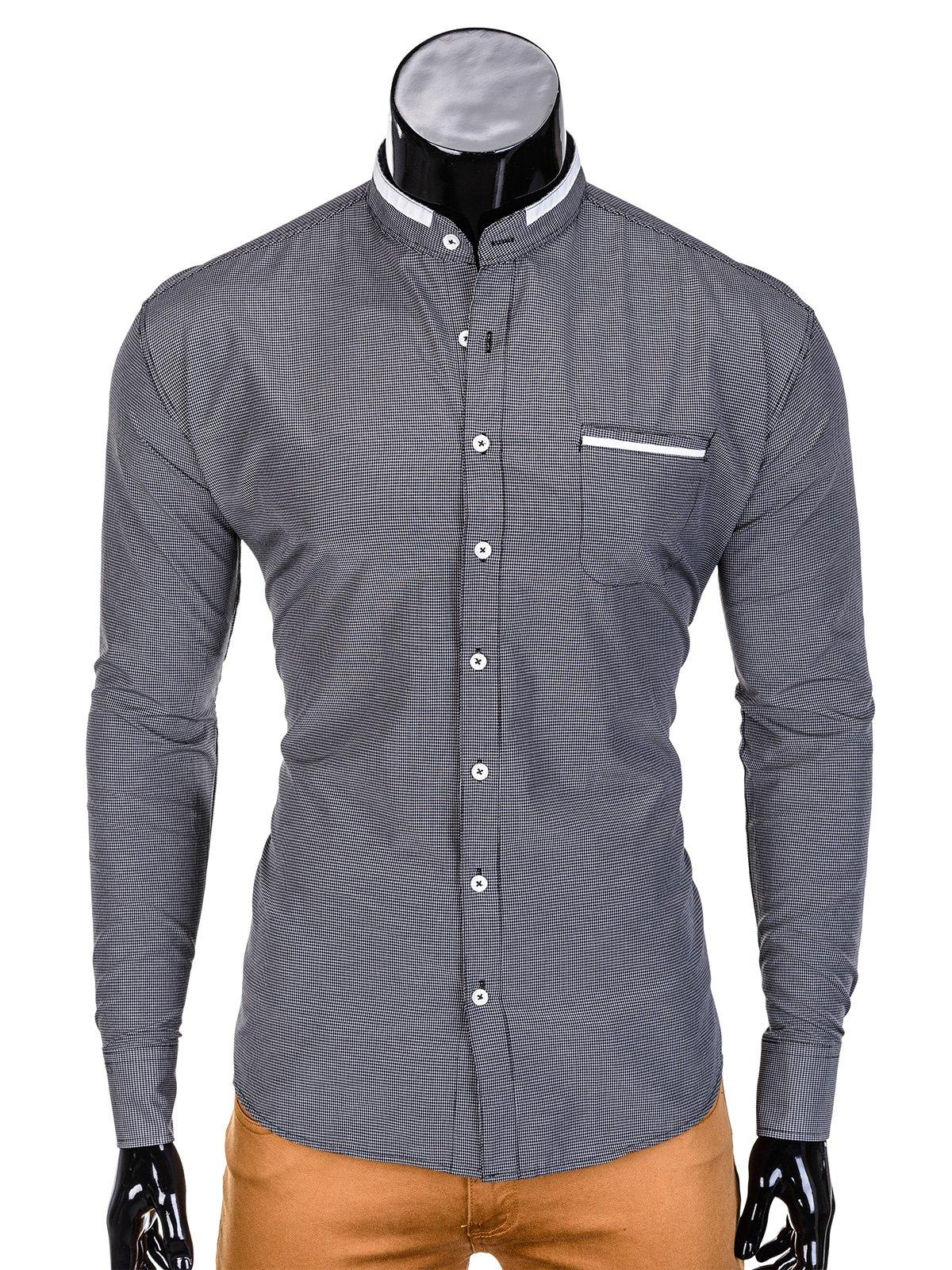 2f990bcdd0929c Koszula męska elegancka z długim rękawem 389K - czarna czarny | SALE \  Wszystkie SALE \ Koszule SALE \ OUTLET OMBRE \ Koszule - Edoti.com