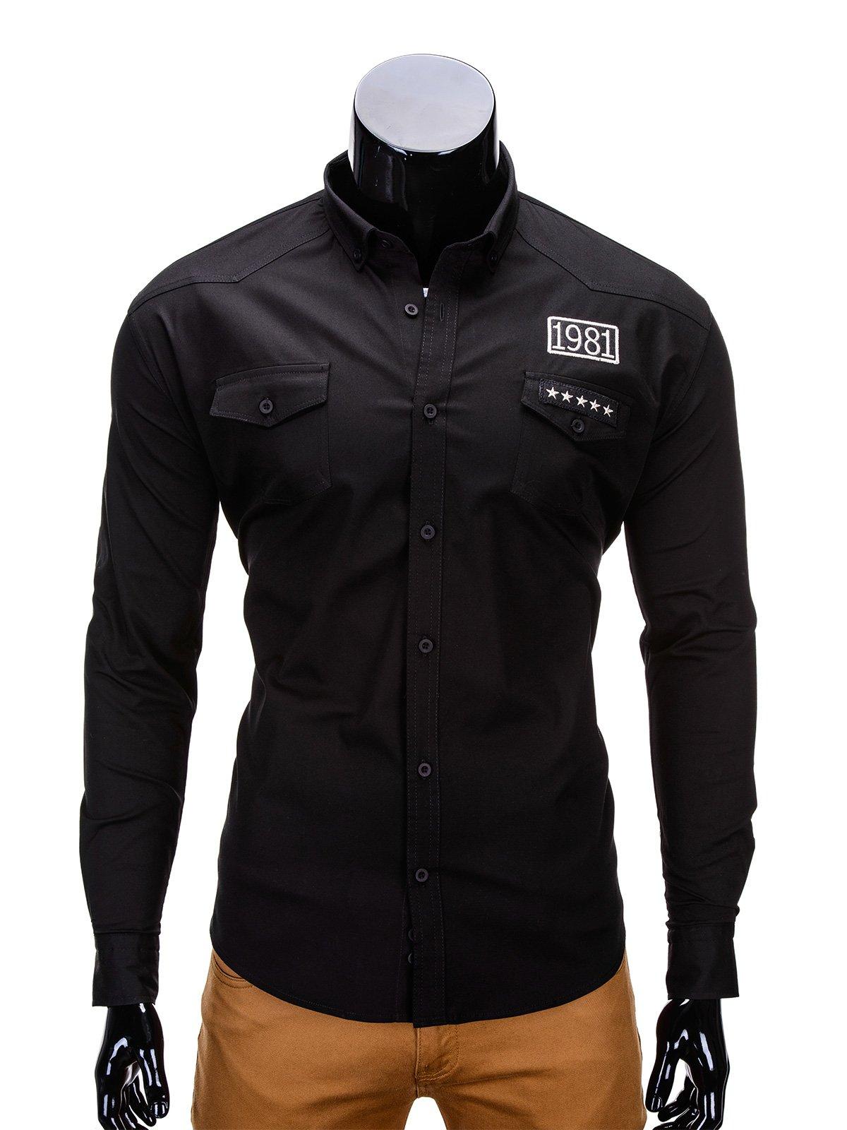 cf6f888a3296b Koszula męska z długim rękawem 306K - czarna czarny | OUTLET OMBRE \  Koszule - Edoti.com