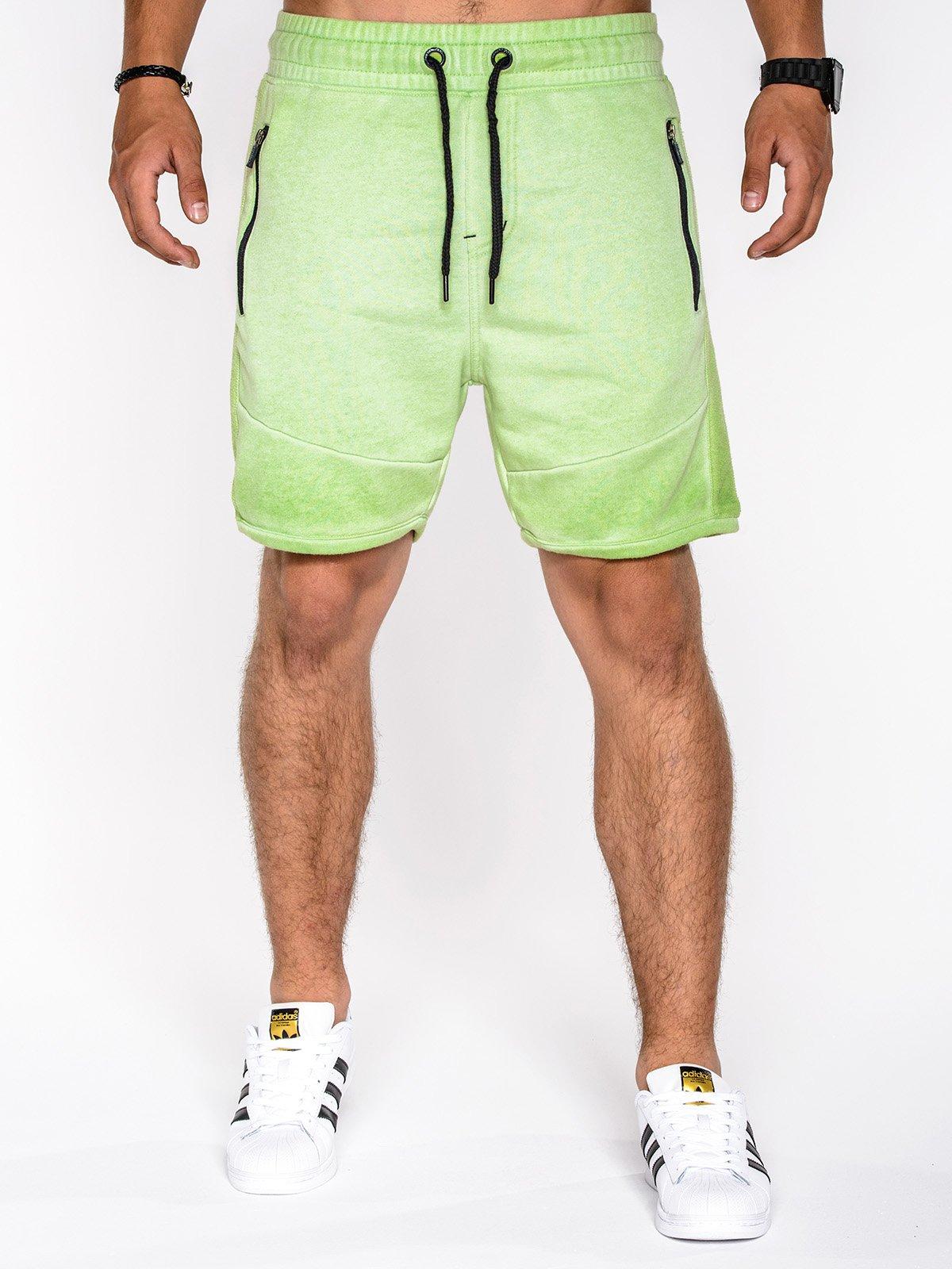 afadb1e01f1c4d Krótkie spodenki męskie dresowe 519P - zielone zielony | SALE \ Wszystkie  SALE \ Spodenki SALE \ OUTLET OMBRE \ Spodenki - Edoti.com