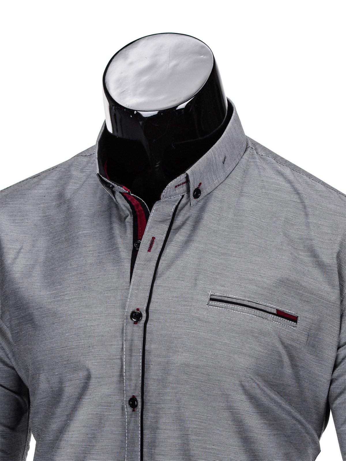 Koszula męska elegancka z długim rękawem 322K szara szary  XSTMf