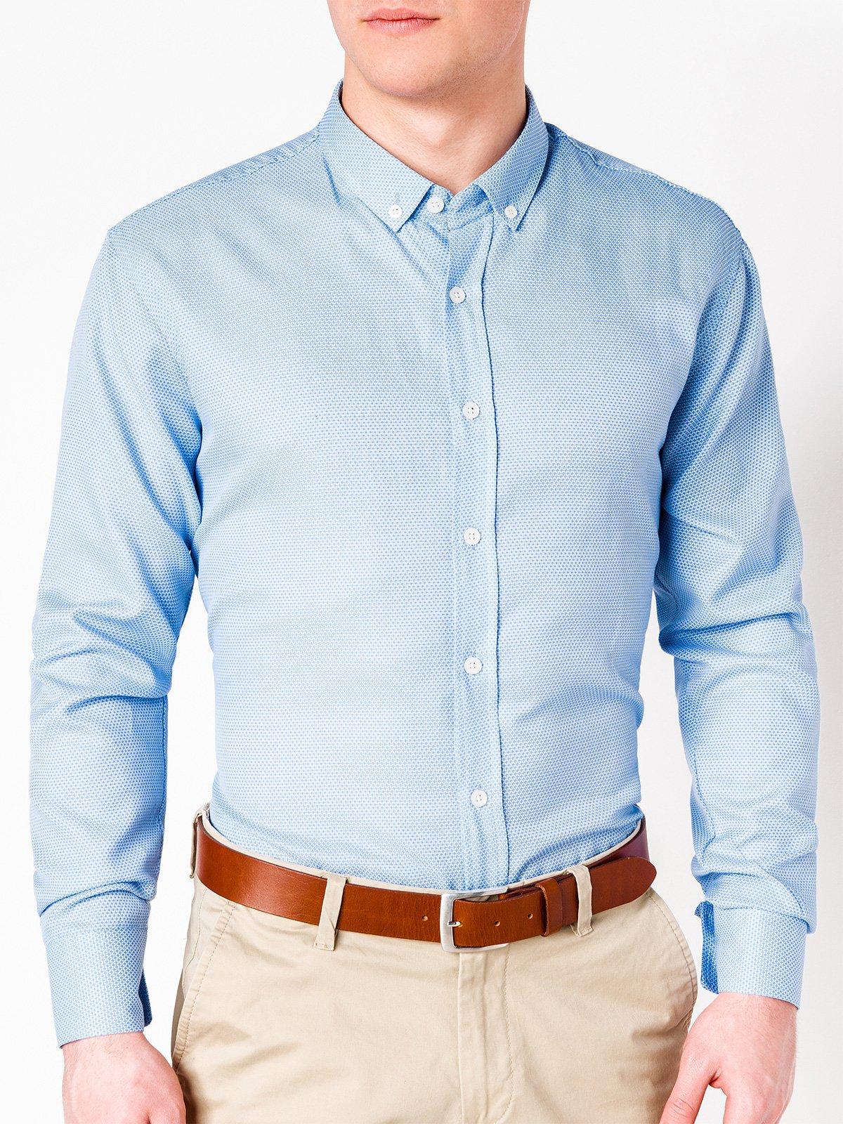 Koszula męska elegancka z długim rękawem 401K błękitna  Q5lWY