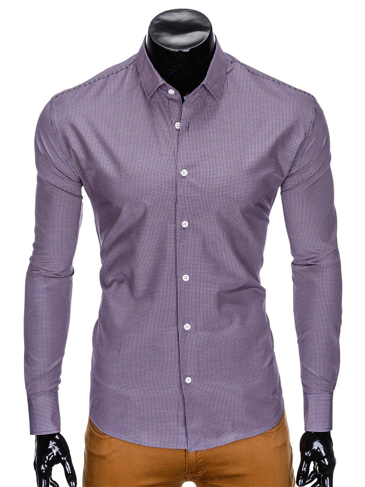 Prosty i elegancki koszule Koszula W Kratę Fioletowy Koszule