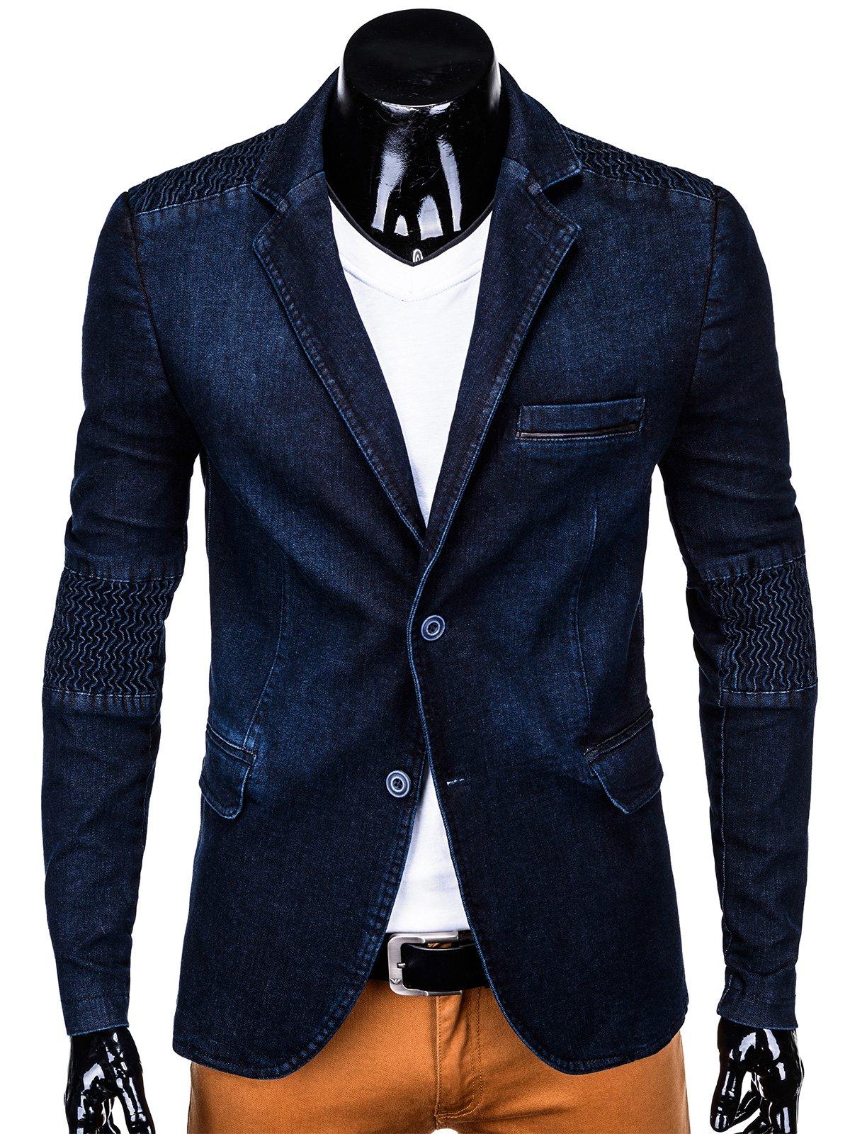 7ef35cd5f8d38 Marynarka męska 116M - ciemna jeansowa | Odzież \ Marynarki - Edoti.com