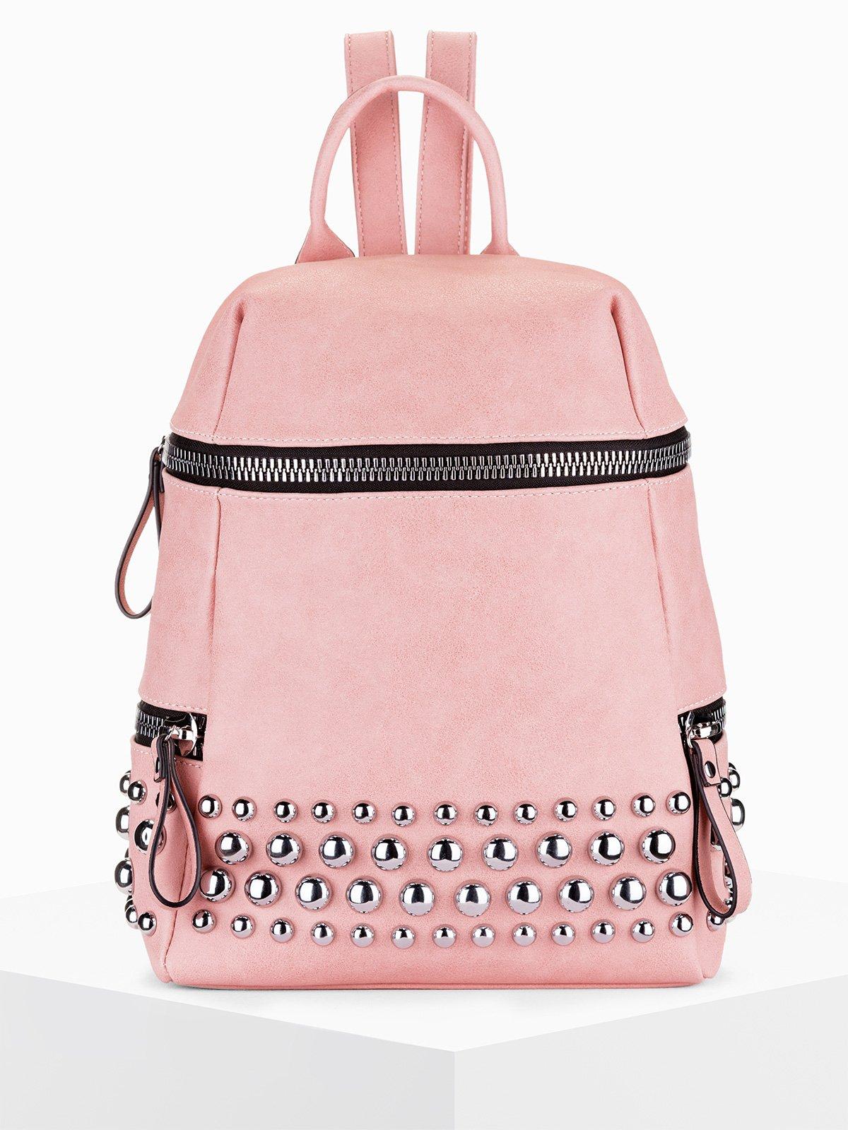 b467c36044df9 Plecak z ćwiekami 115BLR - różowy różowy | Dla niej \ Torebki Dla niej \  Wszystkie - Edoti.com