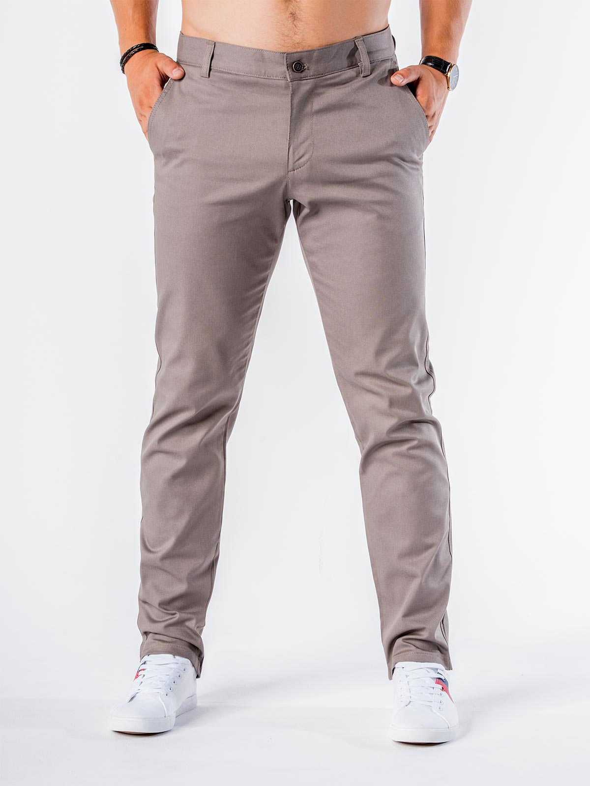 fb832512ae77a Spodnie męskie chino 546P - szare szary | Odzież \ Spodnie \ Wszystkie  Odzież \ Spodnie \ Pozostałe - Edoti.com