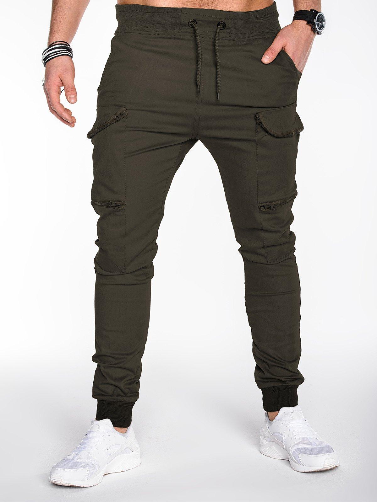 c7fbafc72c8815 Spodnie męskie joggery 456P - oliwkowe zielony || oliwkowy | Odzież \  Spodnie \ Wszystkie Odzież \ Spodnie \ Pozostałe - Edoti.com