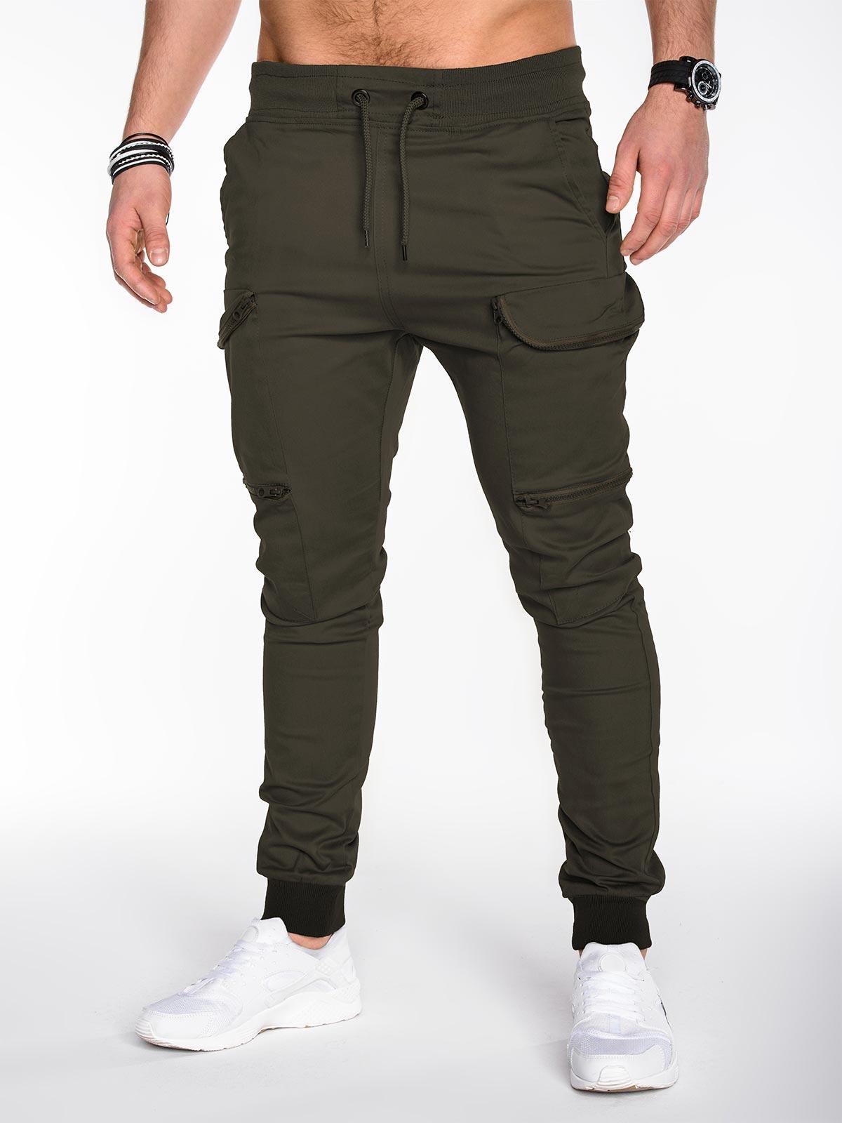 da5761a198d826 Spodnie męskie joggery 456P - oliwkowe zielony || oliwkowy | Odzież ...
