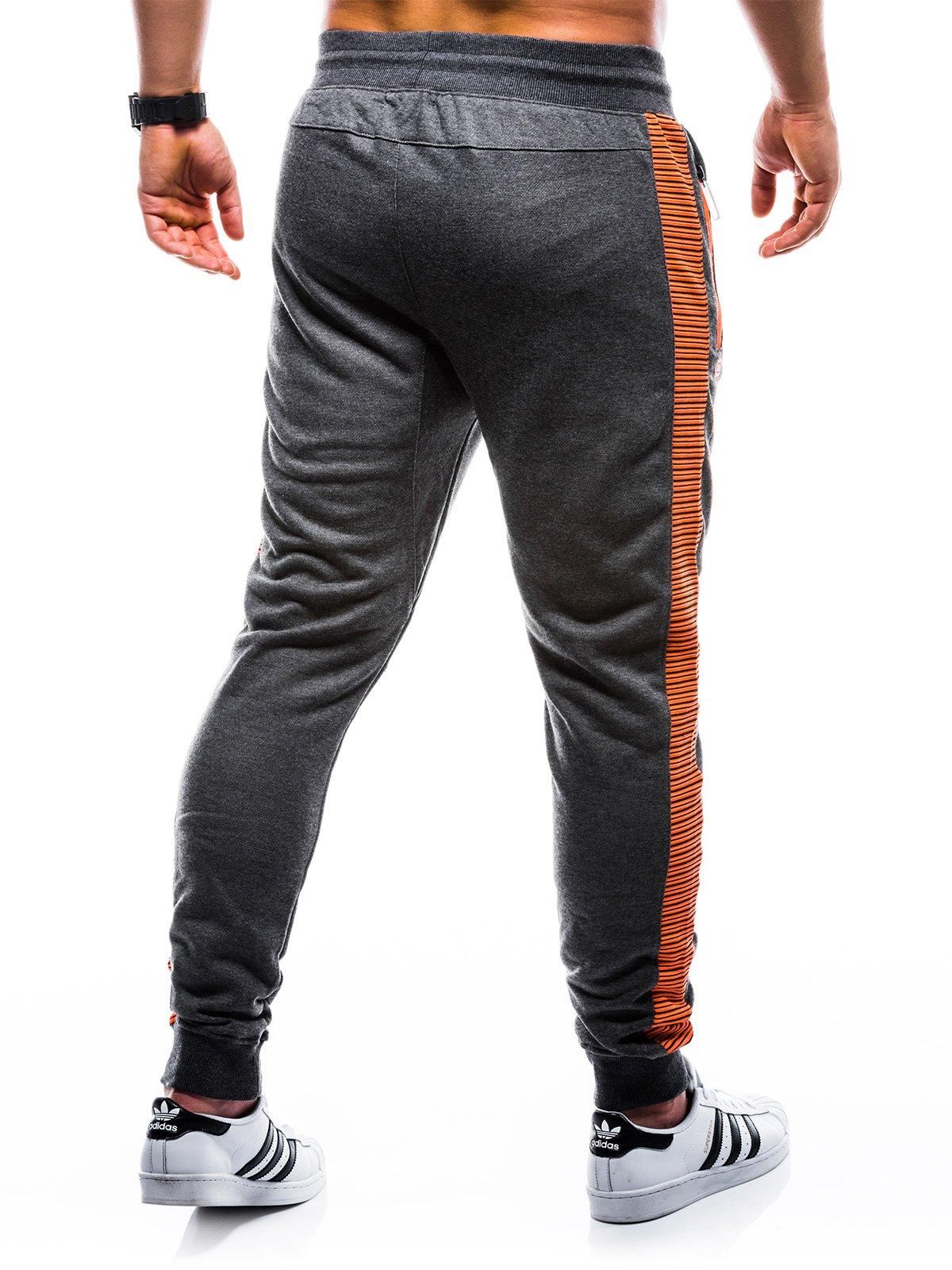 Spodnie męskie dresowe 730P grafitowepomarańczowe