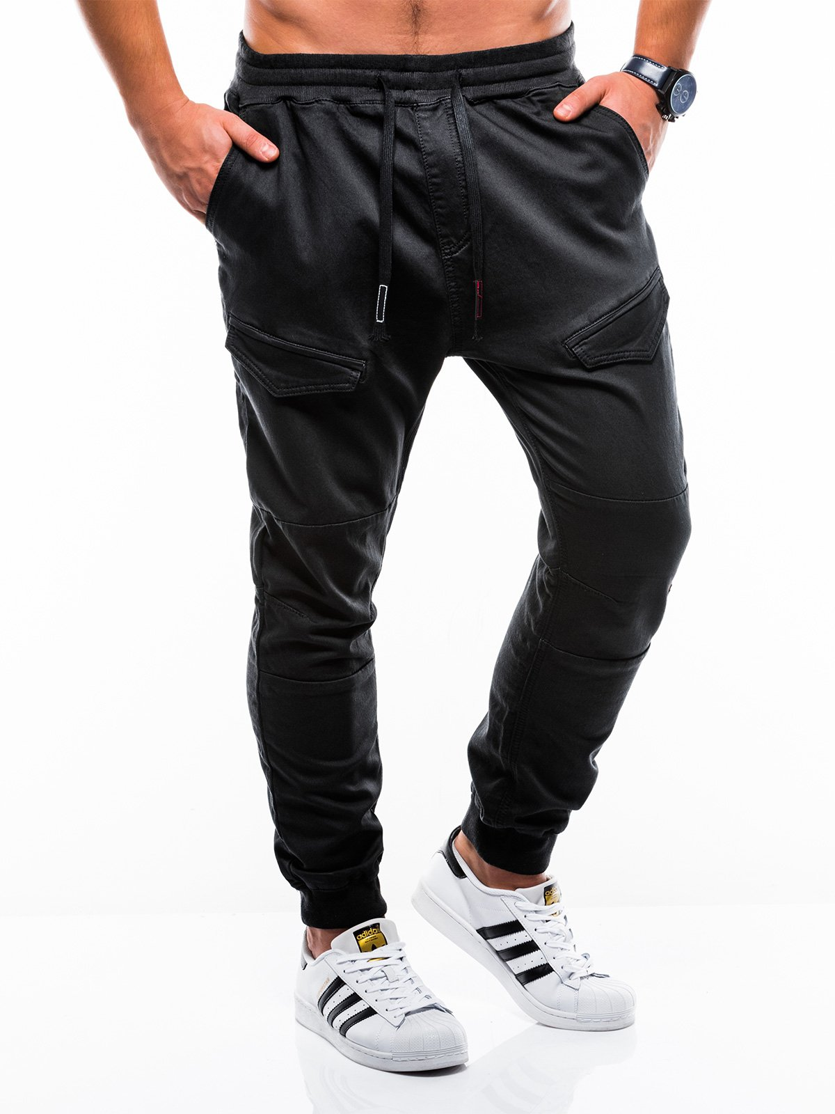 Spodnie męskie joggery 813P czarne