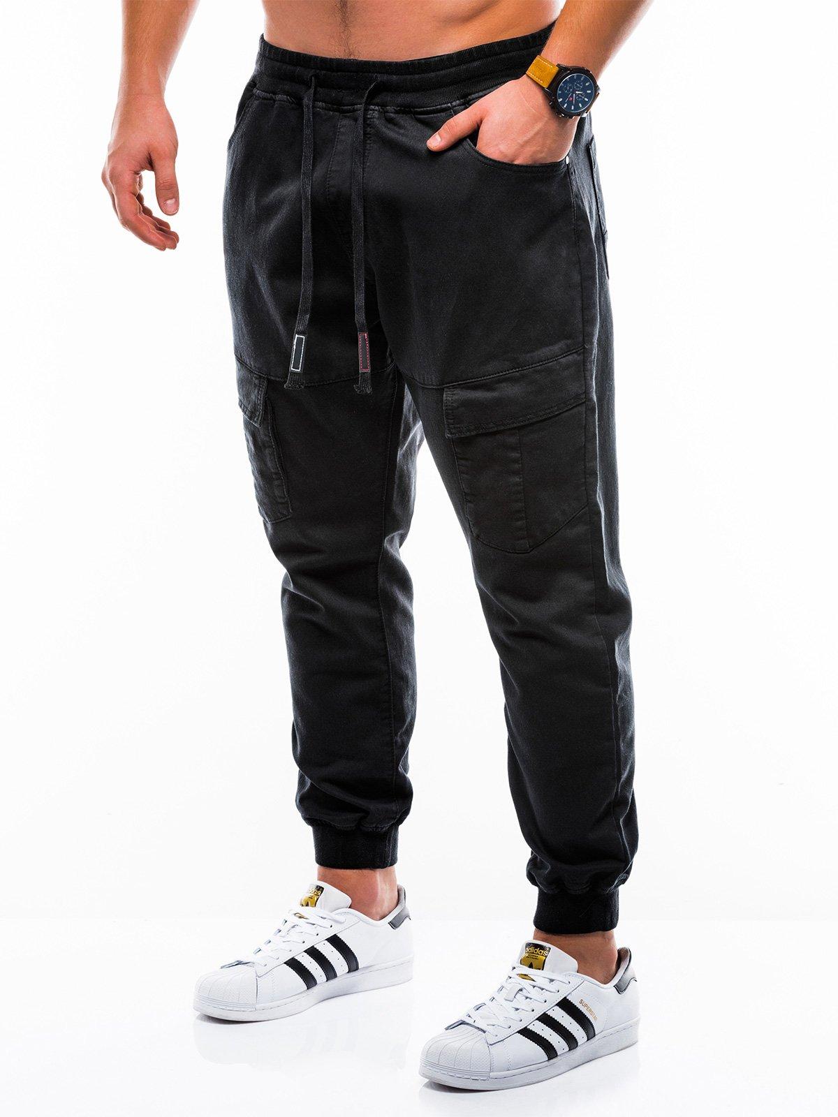 Spodnie męskie joggery 814P czarne