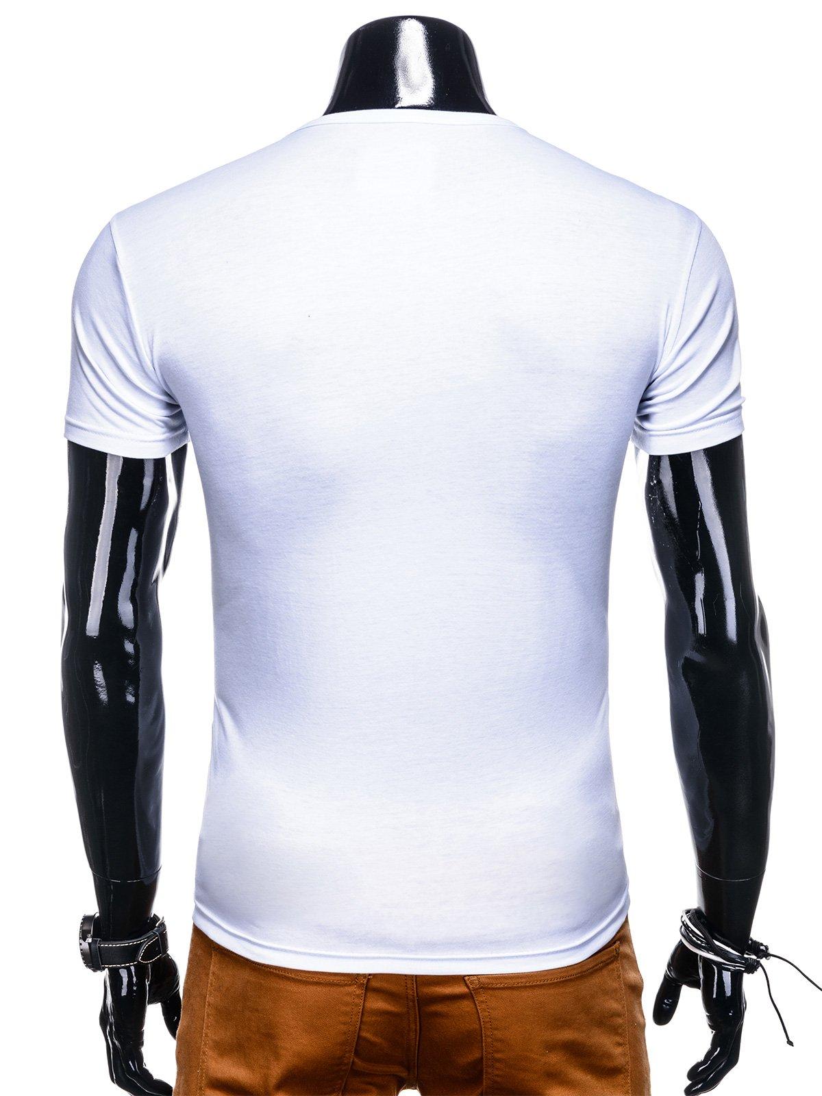 T shirt męski z nadrukiem 1105S biały