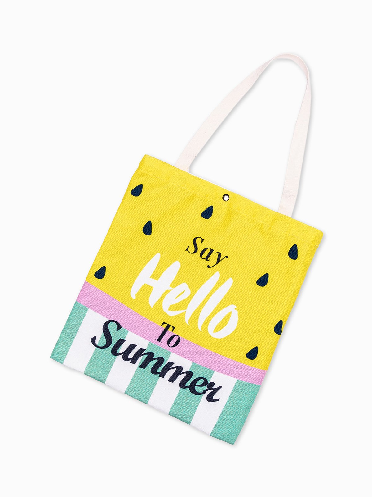 b7777c467e9ea Kliknij, aby powiększyć; Torba materiałowa z nadrukiem say hello to summer  168BLR - żółta Kliknij, aby powiększyć