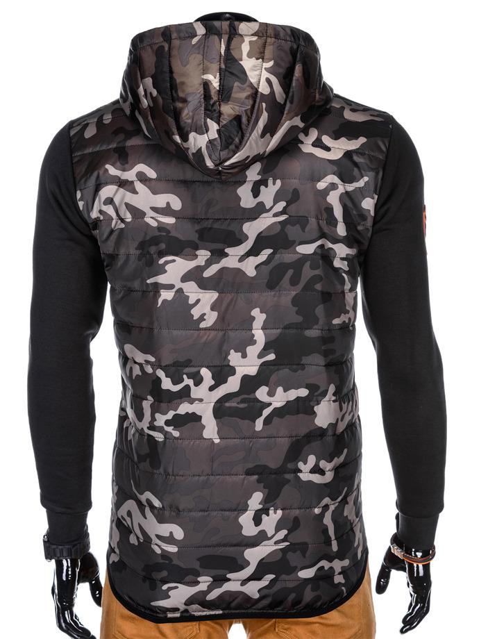 Bluza męska z kapturem i nadrukiem rozpinana 849B moroczarna